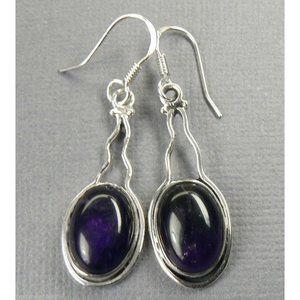 """Sterling Silver AMETHYST Drop Earrings 1.75"""""""